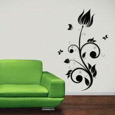 Наклейка по тематике от 2stick.ru.Прекрасный цветок тюльпана и бабочки