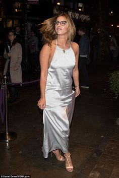 Putting on a show: Keen to maximise her exposure, the dress even featured a slit up the front so she could deftly display her perfect pins Ferne Mccann, Floor Length Dresses, Hollywood Celebrities, In The Flesh, Put On, Silk Dress, Boobs, Singer, Display
