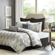 Create a new look in your space by adding the Madison Park Paxton Collection. This unique jacquard design includes a woven chevron with shades of black, grey and silver creating an interesting and beautiful motif. A dark grey polyoni provides a sharp backdrop for this bed on the euro shams, bedskirt and the flange of each sham. Two decorative pillows use piecing and embroidery technique bringing more interest to the top of bed and finish off this cohesive collection.