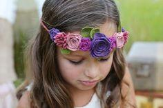 Felt flower crown - baby, toddler girls headband - flower girl headband - flower…