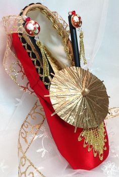 Nutcracker Chinese Tea decorated pointe shoe. by DesignsEnPointe