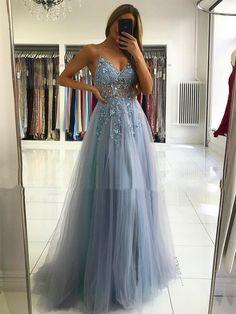 Pretty Prom Dresses, A Line Prom Dresses, Grad Dresses, Tulle Prom Dress, Prom Dresses Online, Formal Evening Dresses, Blue Dresses, Gray Formal Dress, Sparkly Prom Dresses
