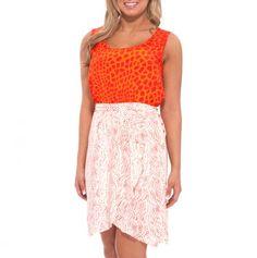 Twin Print Tulip Skirt Dress.