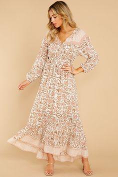 Sweet Pink Dress - Long Sleeve Floral Tassel Maxi - Dress - $69.00 Boho Fashion, Autumn Fashion, Sun Dress Casual, Floral Print Maxi Dress, Fall Dresses, Pink Dress, Floral Prints, Dress Long, Tassel