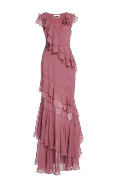 Prabal Gurung short-sleeve tiered ruffle gown