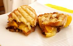 Panini with Caramelized Onion, Peaches and Cheese