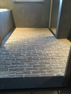 Brick Tile Floor, Brick Flooring, Flooring, Stone Flooring, Tiki House, Barn Interior, Outdoor Toilet, Entryway Flooring, Flooring For Stairs