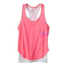 Girls Plus Size SO® Racerback Double-Layer Tank Top, Size: 14 1/2, Brt Pink