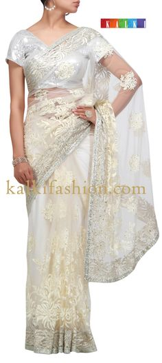 Buy it now http://www.kalkifashion.com/off-white-saree-with-resham-and-zari-work.html Off white saree with resham and zari work