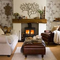 Looking for cosy living room design ideas? Take a look at this warm cosy living room from Ideal Home for inspiration. For more cosy country living room ideas, visit our living room galleries Small Living Rooms, Home Living Room, Modern Living, Log Burner Living Room, Luxury Living, Cottage Living Room Small, Small Living Room Layout, Apartment Living, Quaint Living Room Ideas