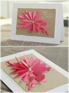 Use heart shaped paper cutting to make this bful card. Decorate as you want!