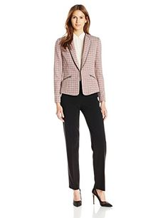 7c427e252faa0 Tahari ASL Women's Tweed Pant Suit Coral/Black/White 4 Latest Outfits, Suits