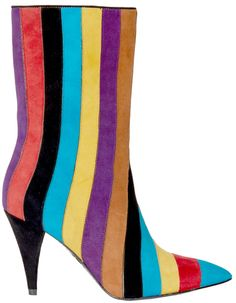 Very striking Calix Suede Boot by Alice + Olivia.   Multi colored stripes will certainly get you noticed!