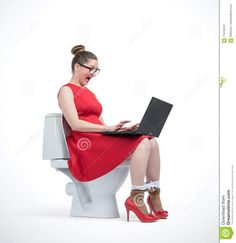 Photo about Young woman in red dress and glasses working on laptop sitting on toilet. Image of situation, female, computer - 118705241 Young Women, Toilet, Female, Glasses, Red, Fashion, Eyewear, Moda, Flush Toilet