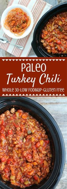 Low FODMAP Healthy Paleo Turkey Chili is a tasty, easy meal made in the crockpot. Loaded with vegetables, spices & lean turkey - it's going to be your new favorite low FODMAP dinner! Crock Pot Recipes, Slow Cooker Recipes, Easy Healthy Recipes, Paleo Recipes, Easy Meals, Paleo Food, Paleo Kids, Healthy Meals, Gluten Free Chili Recipe