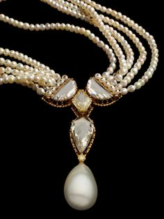Alexandre Reza natural pearl necklace set with a pear-shaped pearl, a fancy intense yellow diamond and 3 rose-cut diamonds. Pearl Necklace Set, Pearl Jewelry, Vintage Jewelry, Jewelry Necklaces, Fine Jewelry, Pearl Rings, Vintage Pearls, Pearl Pendant, Jewellery