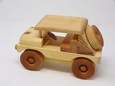 Wooden Handcrafted Jeep, Vintage Style Wooden Toy Jeep, Great Christmas Gift for Jeep Lovers - Top Of The World Wooden Toy Trucks, Wooden Car, Wooden Toys, Handmade Toys, Handmade Wooden, Wood Toys Plans, How To Make Toys, Woodworking Projects Diy, Great Christmas Gifts