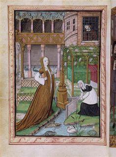 Demoiselle et sa servante dans jardin intérieur du palais ; un homme les observe. Histoire de Jean III de Brosse et de sa femme Louise de Laval.  Ecole :  Ecole française