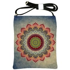 Folk+Art+Lotus+Mandala+Dirty+Blue+Red+Shoulder+Sling+Bags