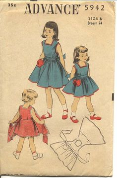 Advance 5942 Girls Apron Wrap Dress Pattern by CynicalGirl Sewing Aprons, Sewing Clothes, Diy Clothes, Dress Sewing, Vintage Kids Fashion, Vintage Children, Sewing Patterns For Kids, Clothing Patterns, Apron Patterns