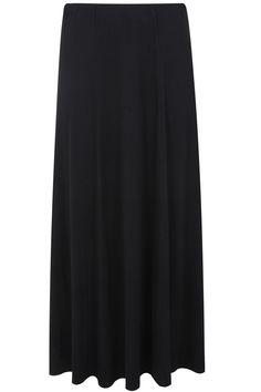 Black Panelled Jersey Maxi Skirt