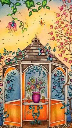 The Secret Garden Adult Coloring Book CLOSE UP of gazebo two page spread. Colored by Dayna Brown with Prismacolors, Caran D'ache Pablos, and Polychromos pencils. The background is soft pastels done first. I erased excess pastels off of the shapes in the picture (like leaves and birds) worth an eraser before spraying with workable fixative. The colored pencils are some over the top of the workable fixative.