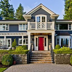 exterior paint.  blue, white trim, red door.