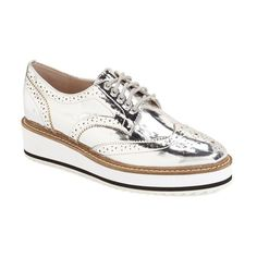 Women's Shellys London Emma Platform Oxford ($120) ❤ liked on Polyvore featuring shoes, oxfords, silver leather, platform wedge shoes, leather platform shoes, leather footwear, wingtip shoes and genuine leather shoes