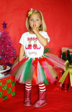 Lil' Elf Feet Christmas Tutu Outfit Pink Lime Red Green White Christmas Tutu on Etsy, $54.95