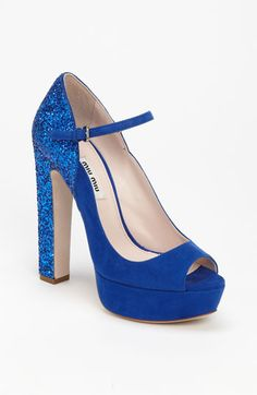 Miu Miu Glitter Heel Mary Jane Pump