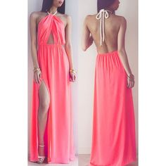"NWT hot pink sexy halter prom dress with slit Perfect for a vacation, prom or a date! Approx 58"" long, 16"" across bust, and elastic waist is 12"" across but will stretch to 18"". Boutique Dresses Backless"