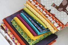 Fabric stack for the Llook! Llamas! quilt