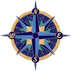 Swimming Pool Mosaics, Swimming Pools, Pool Tiles, Nautical Compass, Nautical Marine, Mariners Compass, Glazed Ceramic Tile, Tiles Online, Compass Rose