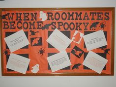 Awesome Halloween themed bulletin board idea to help residents keep good roommate relationships even when schoolwork and midterms become stressful!