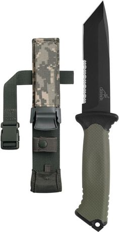 Gerber Prodigy Tanto Fixed Survival Knife Blade, Serrated Edge, with Camo Sheath
