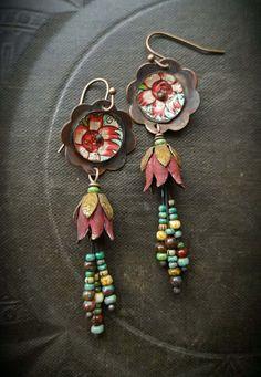Flowers, Tin Earrings, Copper Flowers, Vintage, Copper Discs, Artisan Made, Earthy, Organic, Beaded Earring