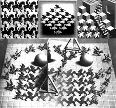 Optical Illussions;  Optical Illussions; Escher, The image manipulation is, in my view, a precursor to the current (Photoshop) image manipulation. Escher scoffed as one of the first with perspective. Well-known images are reused in different forms. For example, LEGO (Litho ' ascending and descending ') and Volkswagen (' stairwell ') well-known works of Escher ' reused '. Escher used the Necker cube and the Penrose triangle as the base inspiration for his works.•°•° Optische Illusies; De…