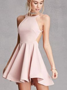 Custom Made A Line Round Neck Pink Backless Prom Dresses, Pink Backless Formal Dresses, Evening Dresses #prom #promdress #promdresses #pinkpromdress #promdressshort #backlesspromdress #prom2019 #formaldresses #dressforprom #dresses Homecoming Dresses Under 100, Hoco Dresses, Sexy Dresses, Beautiful Dresses, Dress Outfits, Elegant Dresses, Dress Prom, Wedding Dresses, Party Dress