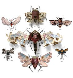 """British artist Mark Oliver has created a series of insects called """"LitterBugs"""" brought to life entirely from trash. Using eyeglass-arms for antennae and clock hands for legs, the species was developed in order to adapt to the harsh and changing urban landscape."""