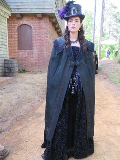 Mary Sibley, season one. Continuity photo.  Purple cut velvet brocade dress with a black jet embroiderd cape made of vintage Chinese silk.  Heavy amethyst necklaces from my personal collection. Silk hat with sterling buckle.  Made in our studio.