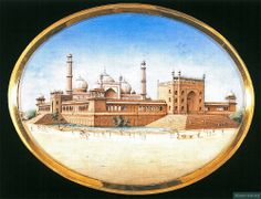 An illustration of the Jamia Masjid Shahjahanabad (c. 1650).  Built by ShahJahan, this was the main congregational mosque of Shahjahanabad. Located between Chandani Chowk and Faiz Bazaar, the mosque consists of eleven cusped arches and three bulbous domes. In the center is a hauz (tank) and while elegant openings of the colonnades (riwaq) encircle the mosque.   Source: http://facebook.com/heritageofislam