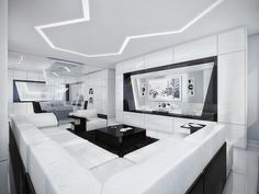 Black and White Geometrx Living Room Interior Design with Multmedia TV  Black & White Inspiration: 35 Contemporary Decors Opening Up A World of Ideas