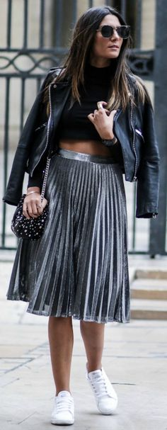 fresh new take + classic look + Federica L + leather jacket + metallic pleated skirt + pair of white sneakers + pair of shades + cross body bag + capture every edgy vibe Federica Skirt: Sheinside + Jacket: Mango +