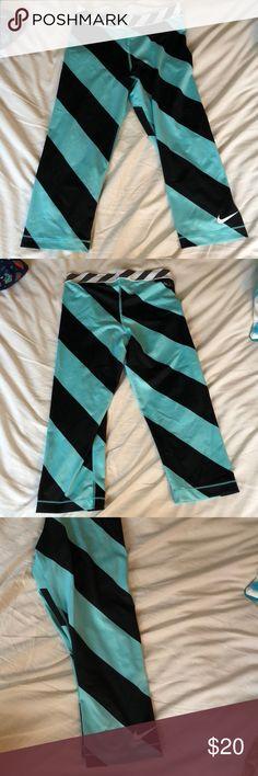 Nike Pro Leggings Turquoise and Black Striped Nike Pro Leggings Nike Pants Leggings