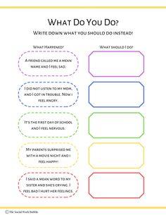 What Should I Do Feeling Situation Behavior Worksheet | Etsy Social Work Worksheets, Coping Skills Worksheets, Cbt Worksheets, Counseling Worksheets, Therapy Worksheets, Counseling Activities, Printable Worksheets, Group Therapy Activities, Anxiety Activities