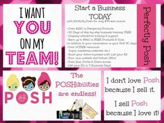 I want you on my team!! Start a business today. Ground floor opportunity. Get started today, you won't regret it. Perfectly Posh $99 starter kit. Great in any area of the USA. Host parties, do fundraisers, meet people, have fun!! www.perfectlyposh.com/lmcchesney