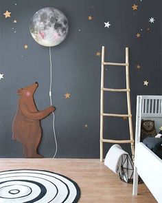 Starry wall and the cutest moon light by hartendief featuring the awesome Circle rug by OYOY. #oyoy #hartendief #kidsinterior