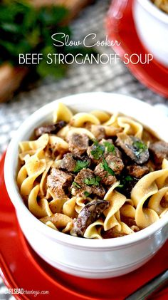 Slow Cooker Beef Stroganoff Soup | Melt in your mouth beef simmered, tenderized and spiced with onions, garlic, Worcestershire sauce, Dijon, and spices  in creamy mushroom broth.  Warm, savory, flavorful EASY comfort!
