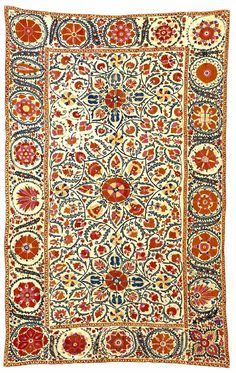 Suzani Embroidery: Bukhara Silk Suzani Embroidery circa 1870 lot 225 - Ckeck up on this site for great variety of suzani