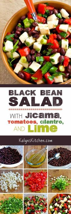 Black Bean Salad with Jicama, Tomatoes, Cilantro, and Lime is a delicious salad even when you have to use cherry tomatoes! This salad is low-glycemic, vegan, gluten-free, and South Beach Diet friendly. [found on KalynsKitchen.com] #JicamaSalad #LowGlycemic #GlutenFree #Vegan #MeatlessMonday